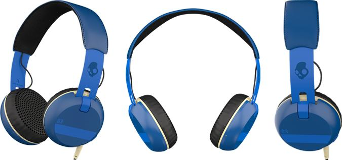 SkullCandy Grind Ill Famed Royal - Side, Front And Earcups View