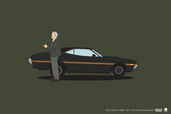 2_1_28_les-personnages-films-series-cultes-posent-avec-leurs-vehicules-emblematiques-gran-torino
