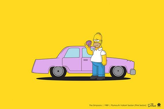 2_1_36_les-personnages-films-series-cultes-posent-avec-leurs-vehicules-emblematiques-les-simpson