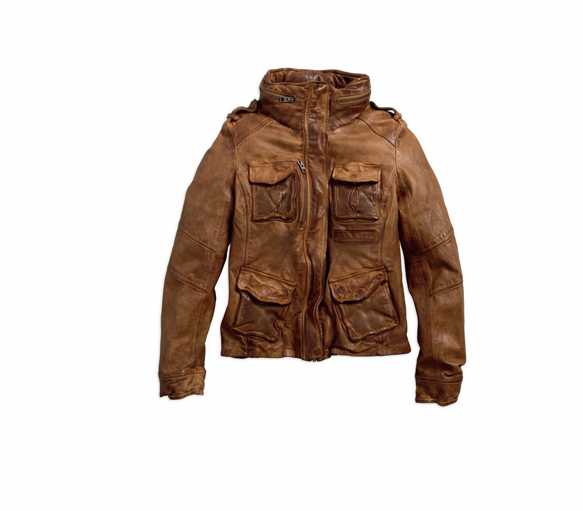 Women's Mocha Bisque Brown Vintage Leather Fashion Jacket